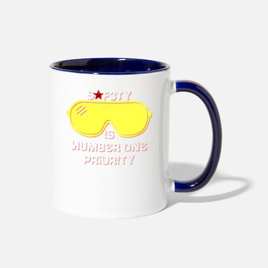 You Mugs & Drinkware - Safety Is Number One Priority - Crazy Russian Hacker Safetyglasses - Two-Tone Mug white/cobalt blue