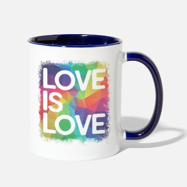 Typo Love is Love Geometric LGBT Gay Pride - Two-Tone Mug