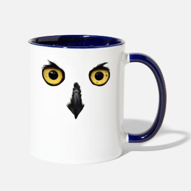 Nocturnal Bird Owl Face Nocturnal Birds Of Prey Predator Bird - Two-Tone Mug