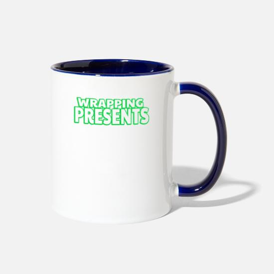 Xhristmas Mugs & Drinkware - Wrapping Presents Like Crazy Green Text - Two-Tone Mug white/cobalt blue