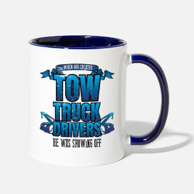 Truck Funny God Created Tow Truck Drivers Showing Off - Two-Tone Mug