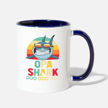 Retro Vintage Opa Sharks Tshirt gift for Father - Contrast Coffee Mug