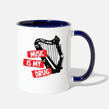 Harp music is my drug retro with cracks - Two-Tone Mug
