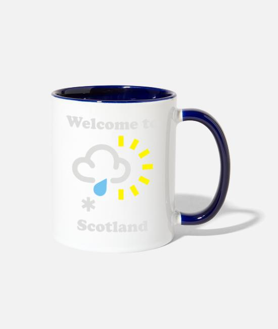 New Years Mugs & Cups - Scottish Weather - Two-Tone Mug white/cobalt blue