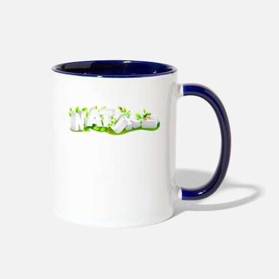 Forest Mugs & Drinkware - Nature Planet animals earthday Shirt - Two-Tone Mug white/cobalt blue