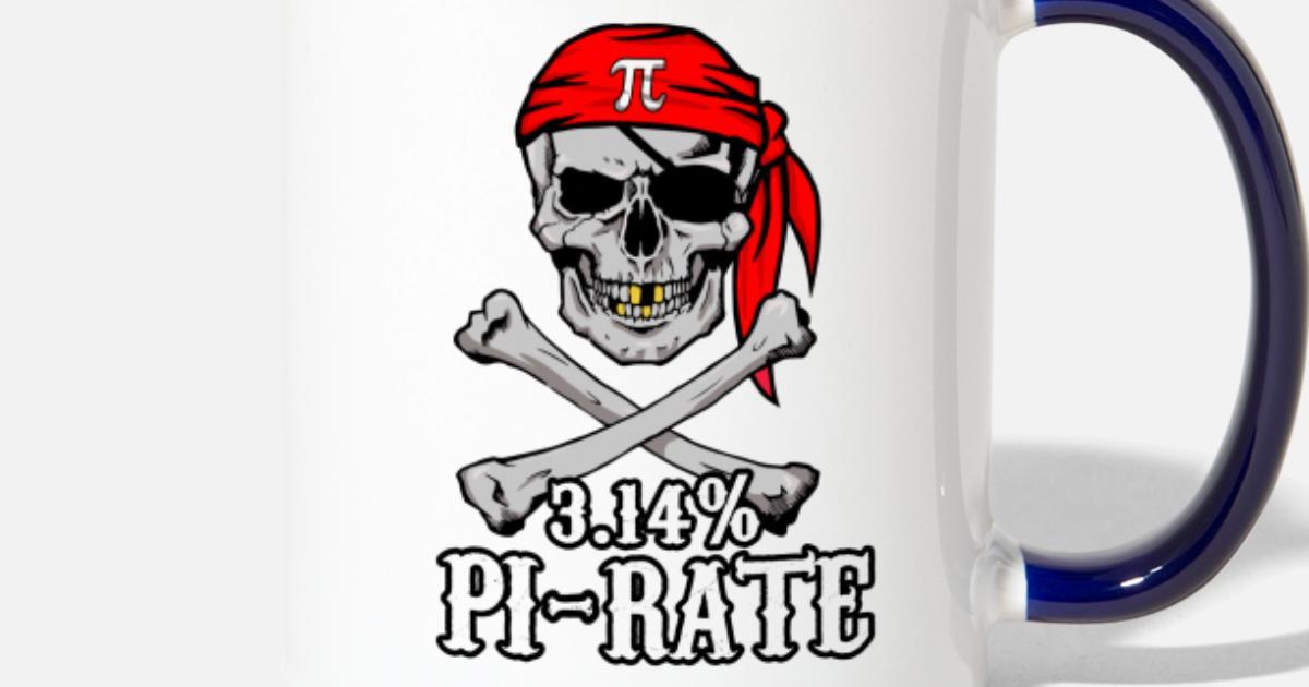 Pi Pirate 3 14% Pun Skull and Bones Two-Tone Mug | Spreadshirt