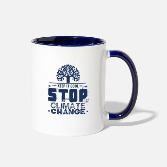 Planet Mugs & Drinkware - Climate Planet Global Warming Climate Change Earth - Two-Tone Mug white/cobalt blue