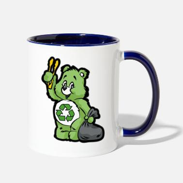 Enviromental TEDDY BEAR RECYCLE RECYCLING TRASH ENVIROMENTAL - Two-Tone Mug
