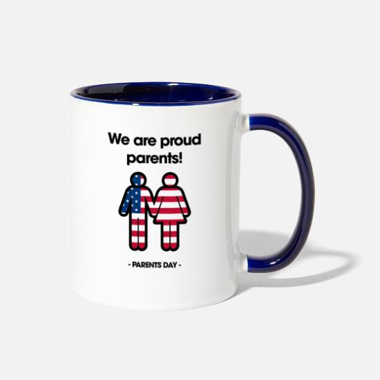 Birthday Mugs & Drinkware - We are proud Parents Parents day Edition - Two-Tone Mug white/cobalt blue