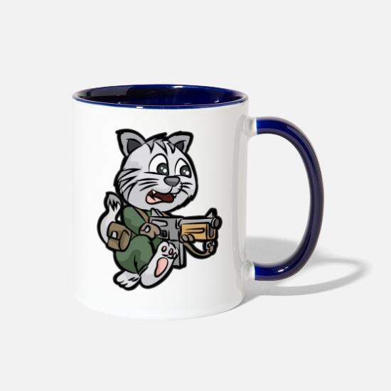 Reserve Mugs & Drinkware - MILITARY CAT TOMMY GUN Soldier - Two-Tone Mug white/cobalt blue