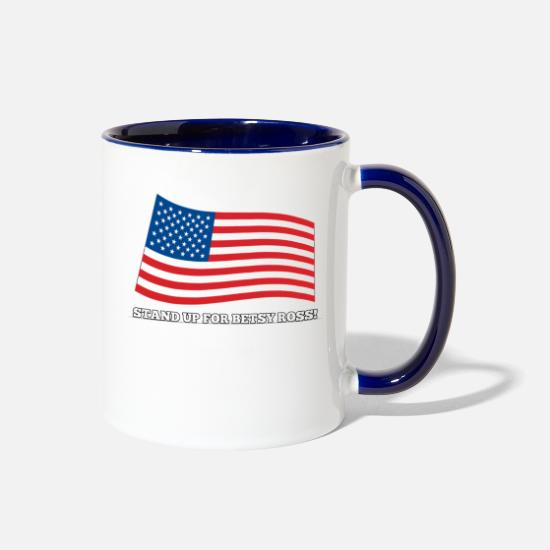 Paddle Mugs & Drinkware - Stand Up For Betsy Ross T Shirt - 1776 Early - Two-Tone Mug white/cobalt blue
