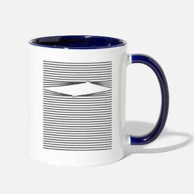 Look Through Cat looks through blinds - Two-Tone Mug