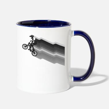 Vintage Zig Zag streaks BMX racing distressed - Two-Tone Mug