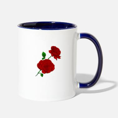 Rose Rose Roses retro - Two-Tone Mug