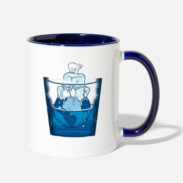 Planetcontest Polar bear in a water glass with Mother Earth - Two-Tone Mug