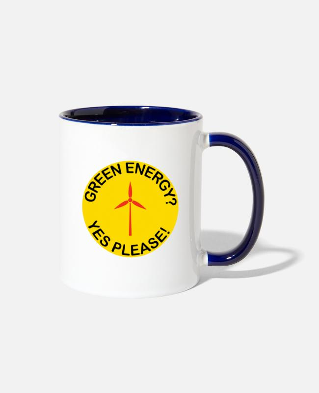 Fridays For Future Mugs & Cups - Green Renewable Energy Wind Energy - Two-Tone Mug white/cobalt blue