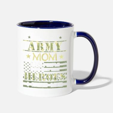 Proud Army Mom I Raised My Heroes Camouflage Graph - Two-Tone Mug