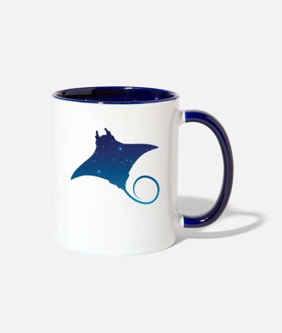 Galaxy Mugs & Cups - Space flying squirrels - Two-Tone Mug white/cobalt blue