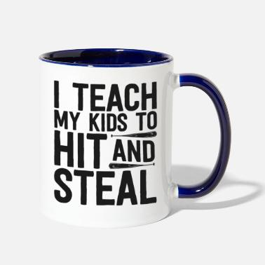 Baseball Baseball Shirt For Men I Teach My Kids To Hit And - Two-Tone Mug