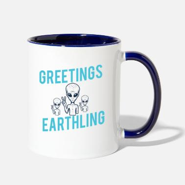 Horror Greetings Earthlings alien shirt space science - Two-Tone Mug