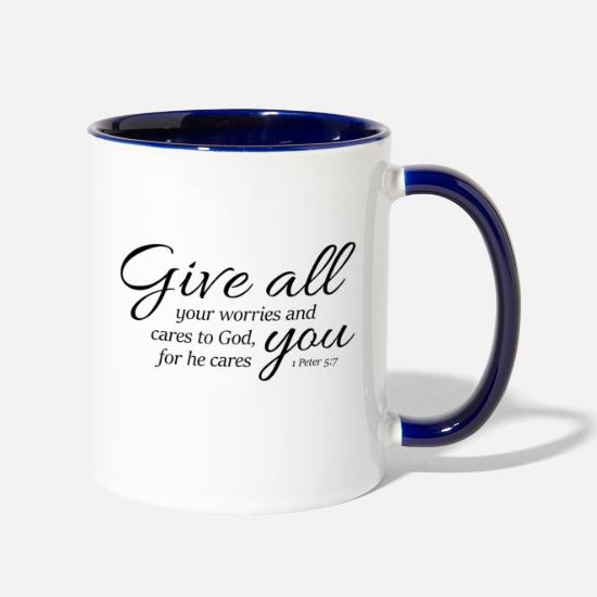 1 Peter 5-7 Give worries cares to God,Christian Two-Tone Mug
