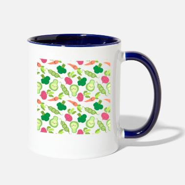 Loopy food vegetables - Two-Tone Mug