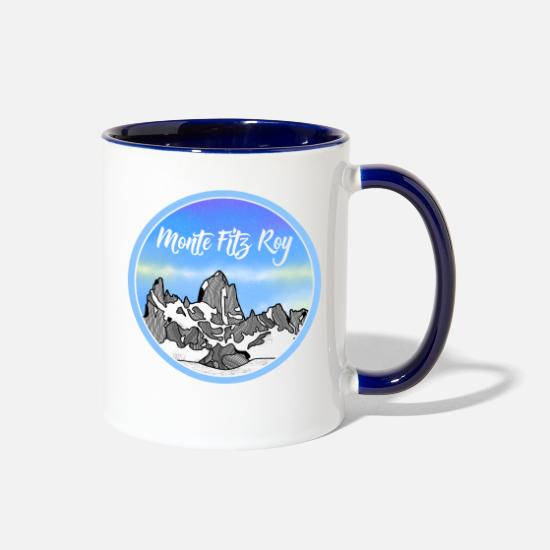 Peak Mugs & Drinkware - Monte Fitz Roy Patagonia Mountain - Two-Tone Mug white/cobalt blue