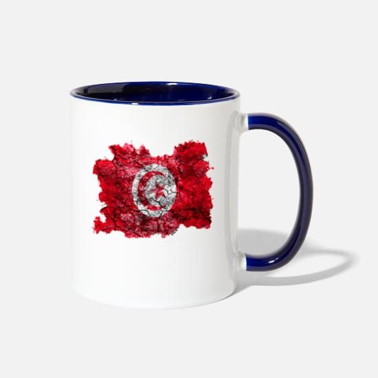 Tunisia Mugs & Drinkware - Tunisia Vintage Flag - Two-Tone Mug white/cobalt blue