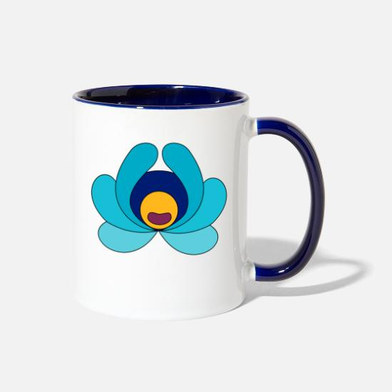 Tradition Mugs & Drinkware - Folk art flower - Two-Tone Mug white/cobalt blue