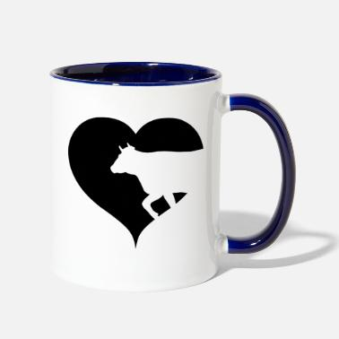 Cow Heart cow cattle black cows - Two-Tone Mug