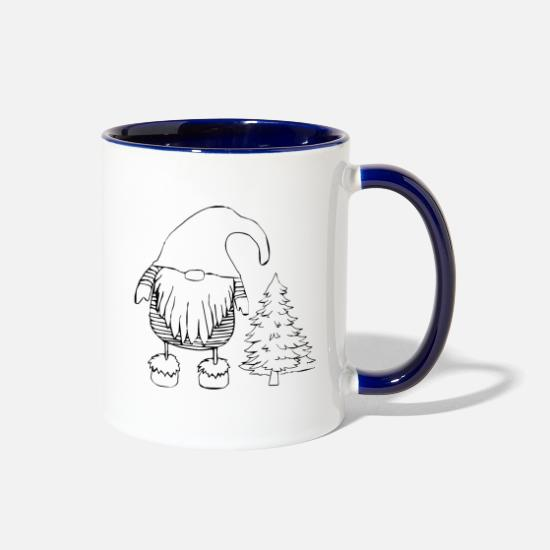 Gift Idea Mugs & Drinkware - Dwarf in the Christmas outfit - Two-Tone Mug white/cobalt blue