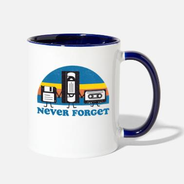Tape Never Forget Floppy Disk, VHS and Casette Tape - Two-Tone Mug