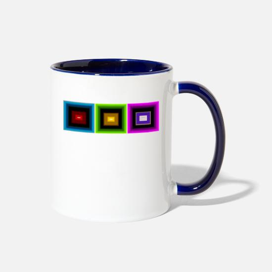 Love Mugs & Drinkware - squares 3 - Two-Tone Mug white/cobalt blue