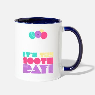 Cute Colorful Up and Away Balloon 100 Days of Scho - Two-Tone Mug