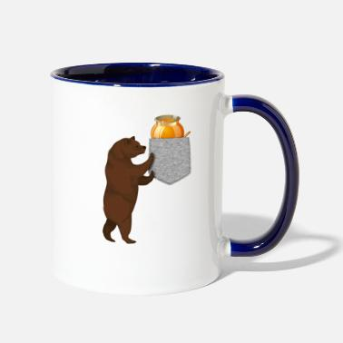 Fruit Bear Reaching For Honey Barrel In Your Fake Pocket - Two-Tone Mug