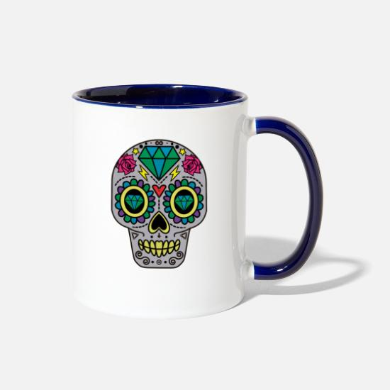 Rock 'n' Roll Mugs & Drinkware - ROCK N ROLL SKULL T-SHIRT - Two-Tone Mug white/cobalt blue