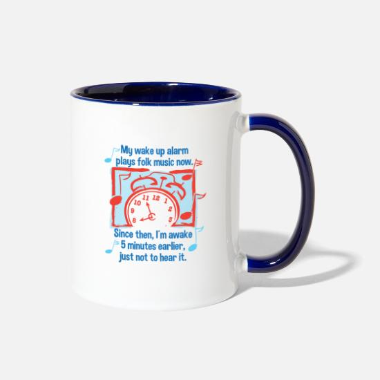 Schlager Mugs & Drinkware - Folk Music Funny Saying Humorous Brass Band - Two-Tone Mug white/cobalt blue