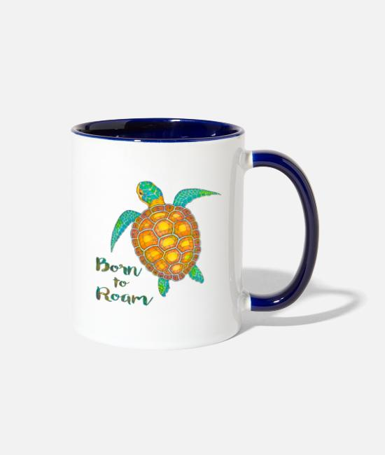 Travel Bug Mugs & Cups - Seaturtle born to roam - Two-Tone Mug white/cobalt blue
