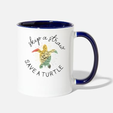 Save Skip A Straw Save A Turtle T-Shirt - Two-Tone Mug