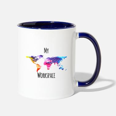 Workspace My workspace digital nomads colorful - Two-Tone Mug