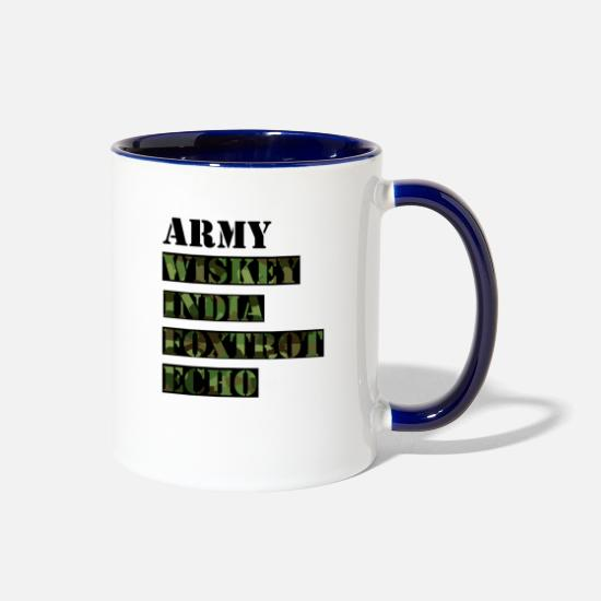 Strong Mugs & Drinkware - Army wife dark Camo - Two-Tone Mug white/cobalt blue