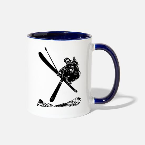 Winter Sports Mugs & Drinkware - Skiers on the ski slopes in a sporty and fast way - Two-Tone Mug white/cobalt blue