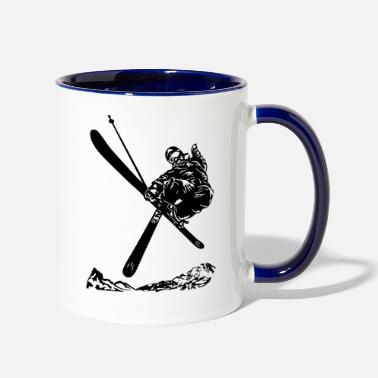Chairlift Skiers on the ski slopes in a sporty and fast way - Two-Tone Mug