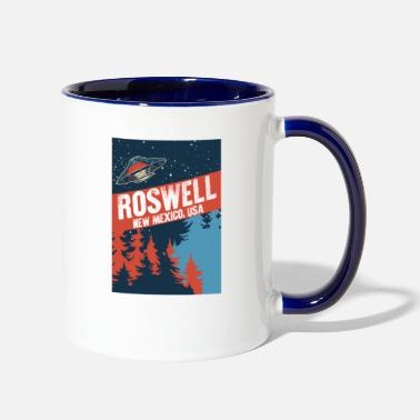 All Seeing Eye Very Interesting Roswell New Mexico USA Conspiracy - Two-Tone Mug