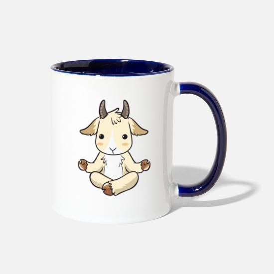 Love Mugs & Drinkware - Yoga Goat Goatee Art Costume I Goats Apparel Gift - Two-Tone Mug white/cobalt blue