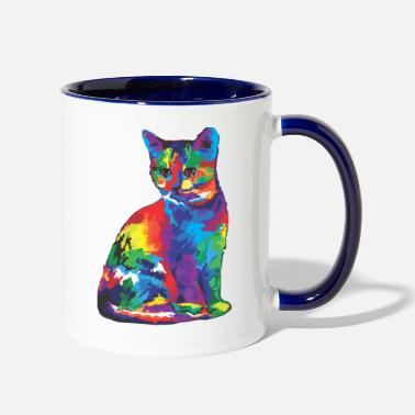 Colorful Cat - Two-Tone Mug