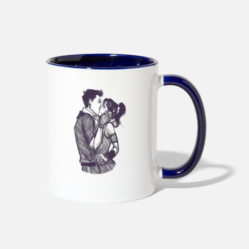 Valentine's Day Mugs & Drinkware - First Kiss - Two-Tone Mug white/cobalt blue
