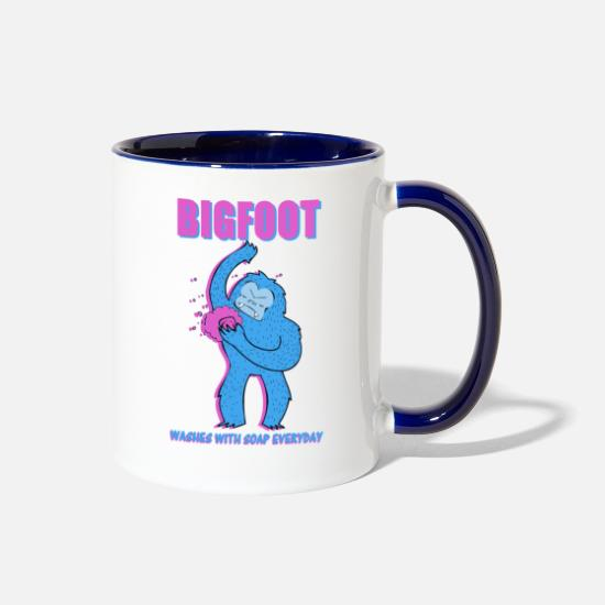 Soap Mugs & Drinkware - Bigfoot washes with soap everyday - Two-Tone Mug white/cobalt blue