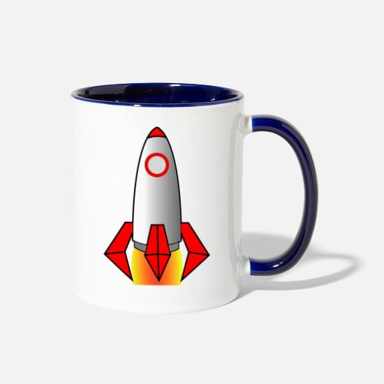 Nasa Mugs & Drinkware - rakete rocket space shuttle ufo raumschiff mond mo - Two-Tone Mug white/cobalt blue