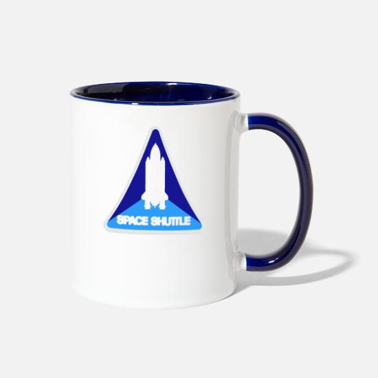 Space Ship Mugs & Drinkware - Mission Patches Space shuttle - Two-Tone Mug white/cobalt blue